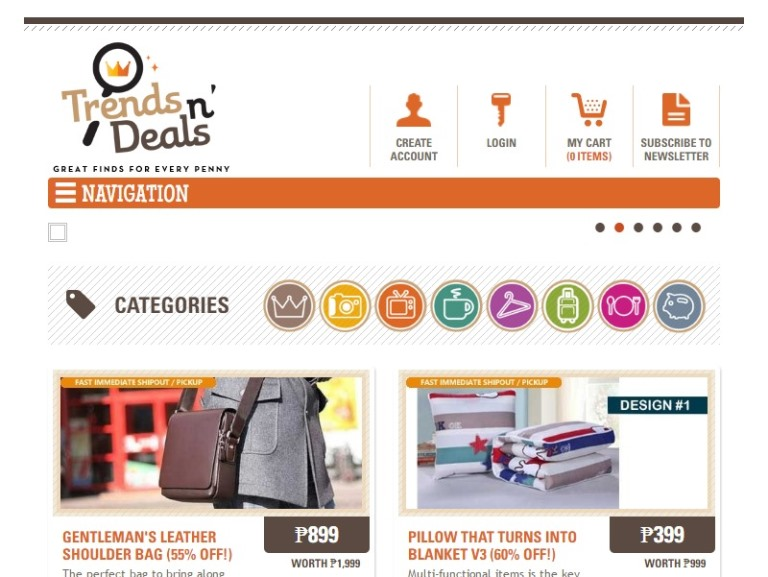 TrendsnDeals Home Page Screenshots