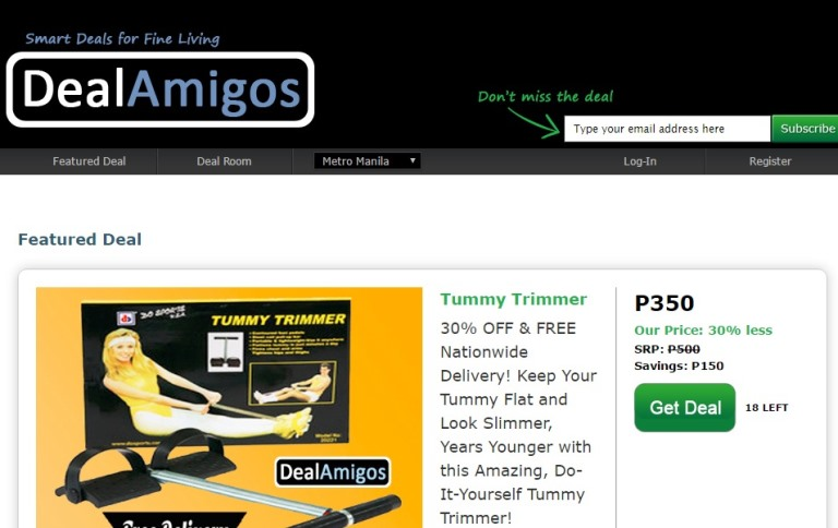 DealAmigos Home Page Screenshots
